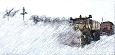 снегоуборщик, сугроб, буран, дорога, автомобиль