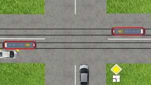 трамвай, автомобиль, перекресток