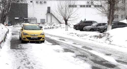 желтый, автомобили, двор, улица, дорога