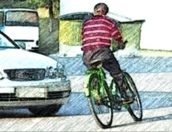 велосипед, автомобиль, дорога, улица, дтп